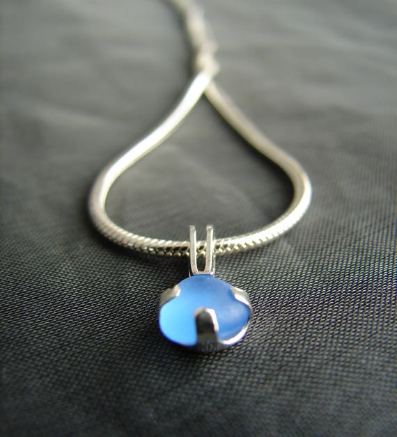 Sea Sprite beach glass necklace in cornflower blue