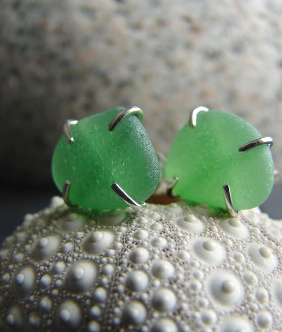 Tiny Ocean sea glass stud earrings in kelly green