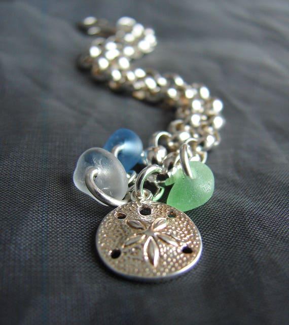 Little Sand Dollar sea glass bracelet in cornflower blue, soft green and white