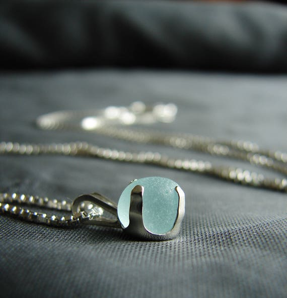 Sea Sprite beach glass necklace in aqua