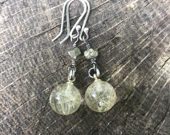 Pyrite and Rutilated Quartz Earrings