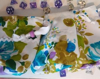 Bright Vintage Floral 70s Drawstring Dice Bag Set
