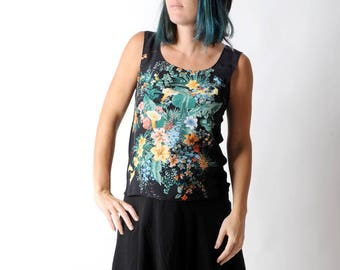 Black silk top with colorful floral print, Summer sleeveless tank top, Black and green top, Womens tops, Womens clothing, MALAM