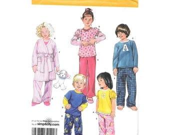 Kids Boys Girls Pajamas Robe 4 to 8 Sewing Pattern Simplicity 2826