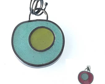 Reversible Resin Pendant Sterling Silver Colored Epoxy Green Blue Purple Oxidized Silver