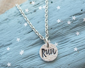 Silver Runners Necklace - Run Necklace - Motivational Run Necklace - Gift for Runner - Running Necklace - Run pendant - Gift for Her