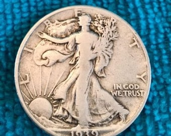 1939 P Half Dollar V.G. Bright  SILVER STANDING LIBERTY Coins  Harder to find - Free Usa Shipping