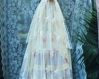 Lace roses  dress wedding cream ivory cream  floral   romantic boho outdoor fairytale small by vintage opulence on Etsy