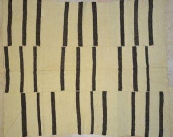Kilim Rug 5.5' x 7' Natural Black Stripe Wool Vintage