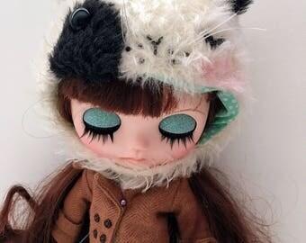 Kitty Cat blythe hat, blythe helmet, blythe hat, blythe fur hat by JennyLovesBenny