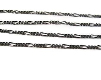 5 Feet of Gunmetal Figaro Chain, Five Feet of Thin Black Chain, Gunmetal Figaro Chain, Delicate Necklace Chain (40099029)