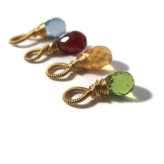 Hand Wrapped Gemstone Bead, 14/20 Gold Filled Fancy Wrapped Briolette, Gemstone Charm for Making Jewelry, 8mm x 5mm Birthstone Charm (F-17a)
