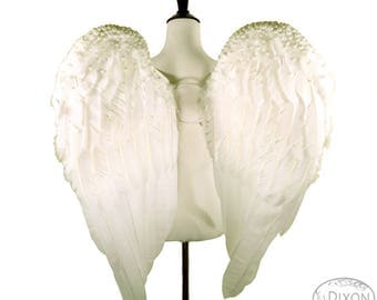 Pearl Encrusted Large White Feather Angel Wings