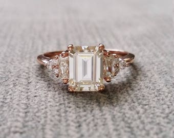 "Antique Moissanite and Diamond Engagement Ring Emerald Cut Baguette Flower Classic Rose Gold timeless PenelliBelle Exclusive ""The Margo"""
