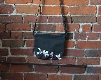 Steel Grey Magnolia Crossbody Bag - Zipper Closure Purse Screen-printed - cottpm canvas
