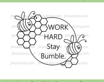 Digital Rubber Stamp Limited Edition Instant Download JessicaLynnOriginal Spring 2017 Bumble Bee Humble and Kind Limited License Card Making