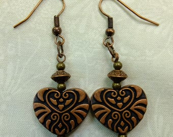 Romantic Dangle Earrings Engraved Reddish Antique Copper Hearts with Accent Beads Fish Hook Earwires