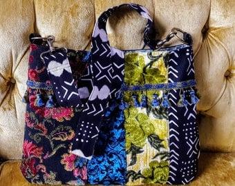 Mixed velvet boho bag crossbody bag / exchangeable strap