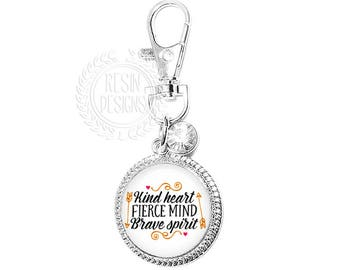 Kind Heart Fierce Mind Brave Spirit Purse Charm, Key Ring, Key Fob, Handbag Accessory, Bridesmaid Gift, Wedding, Rhinestone, Handbag, Bling