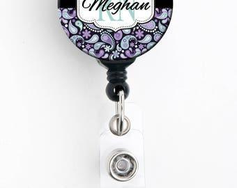 Retractable ID Badge Holder - Personalized Name - Purple Teal Paisley - Badge Reel, Steth Tag, Carabiner, Lanyard