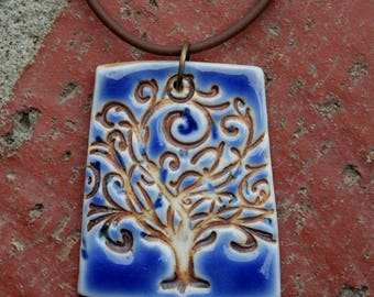 Tree of Life on Blue Porcelain Pendant