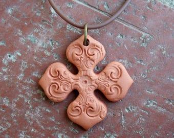 Terracotta Cross Pendant 1, aromatherapy, rustic, focal pendant