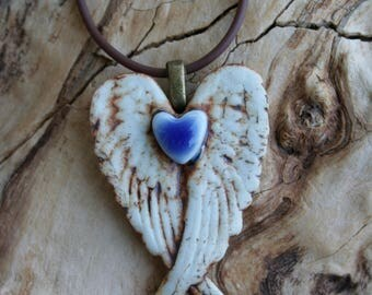 Rustic Royal Blue Winged Porcelain Heart Pendant