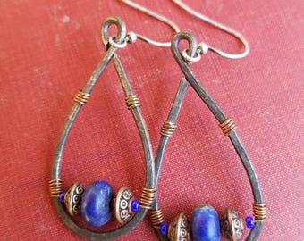 Lapis Lazuli, copper, glass, cobalt, beads, wire, hammered steel, dangle, original design, handmade, artist, ooak, unique, earthy, earrings.