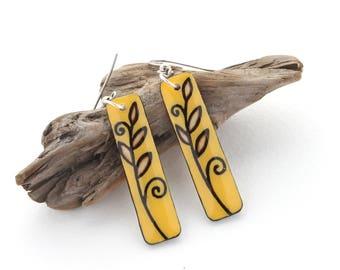 Long Mustard Yellow Wood Rectangle Dangle Earrings, Lightweight Comfortable Earrings for Sensitive Ears, Hypo Allergenic Stainless Steel