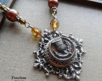 Thistle, Antique Perfume Button Necklace with Czech Glass and Vintage Faux Pearl, Brown, Tawny, Scotland, Antique Silver, Timeless Trinkets