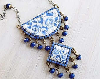 Delft Blue, Boho Necklace, Summer Jewelry, Gypsy necklace, Boho wedding, Something blue, Gzhel Blue, Blue and white tile, Greek blue, gift