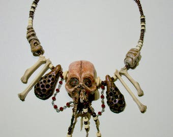 Pirate Jewelry, Vanuatu skull, Bone Jewelry, Shadow Man, Santeria, Horror Sculpture, Witch, Zombie Head Pendant