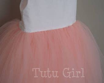 White Cotton and Peach Dress - Tutu Style
