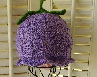 Cotton Flower Fairy Baby Hat Violet Choose Size or NB-5M READY to SHIP