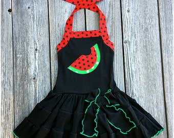 Watermelon Girl Dress, Watermelon Girls Comfy Knit Dress,  Watermelon Girls Pageant Wear, Toddler Girl Outfit, Boutique Girl Clothes