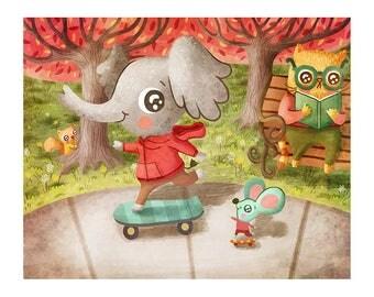 Skateboard Pals - Cute Elephant Print Children's Art Animal Art Print Animal Illustration Gender Neutral Baby Kid wall art for kids room