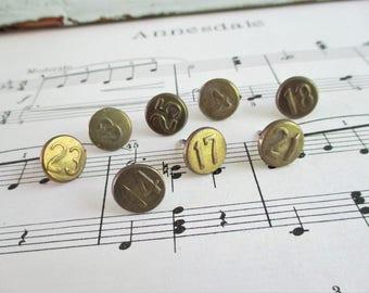 8 Vintage Numbered Brass Tacks - LOT B