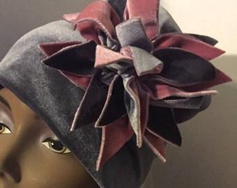 Blush and Gray HerHat Velvet Exploding Flower