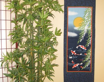 Quilted Wall Hanging Koi Pond and Willow Leaves Japanese Asian Design Tenugui Scroll Size