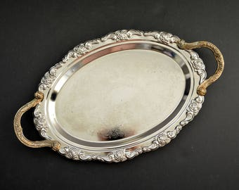 Vintage Ornate Serving Tray with Handles {Oval Silver Plated Butler Tray Serving Platter Silverplated Cocktail Tray Ornate Engraved}