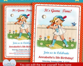 Baseball birthday invitation - baseball party invite - cute sports theme party - blonde girl -  INSTANT DOWNLOAD #P-7 - with editable text