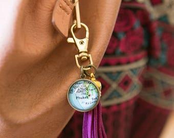 Phuket Map Tassel Key Chain - Purse Accessories - Wanderlust Keychain - Travel Key Chain - Boho Accessories