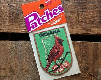 Vintage Bird Patch - 1970s, Camping, Voyager Patch, Indiana Patch, Indiana State Bird, Cardinal, Iron On Patch, NOS, Vintage Patch, Badge