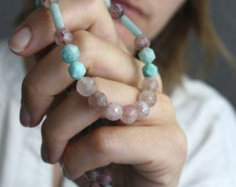 Strawberry Quartz Necklace . Multi Gemstone Necklace Healing Crystal . Amazonite Beaded Necklace for Women - Antigua Collection NEW