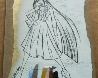 Original Fashion Illustration with Fabric Clippings - Created by Project Runway Designer, Fashion Sketch, Design, Home Decor, Runway Garment