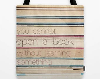 fabric tote bag-market tote-school carry all bag-vintage books-quote-book worm-gift for her-books photo-inspiring words-typography