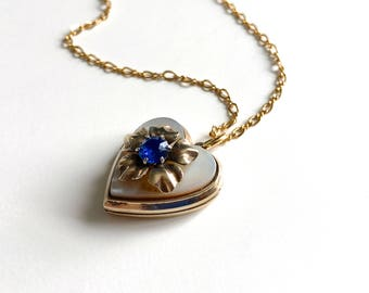 Vintage Retro Blue Flower Mother of Pearl Gold Heart Locket Pendant Necklace