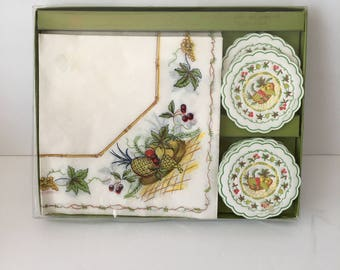 Vintage Boxed Napkin and Drip Mat Coasters Freund Mayer Imports 18 Count Mid Century Barware Hostess Gift