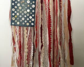 Textile Flag Wall Hanging Rag Flag Recycled Fabric American Flag Hanging w Antique Mother of Pearl Buttons Lace Scrap Fabric Red White Blue