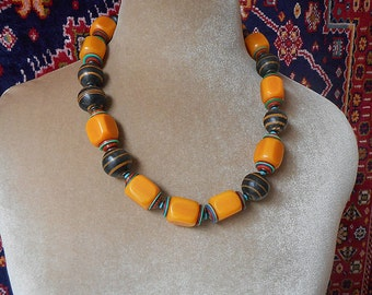 Sunrise, tribal chic strong design, one of a kind,  vintage & contemporary African beads